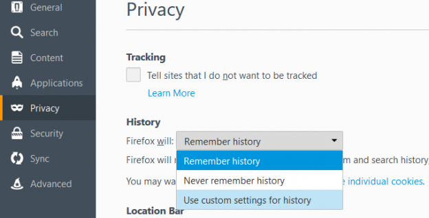 adlock-how to block third party cookies in mozilla - custom settings for history