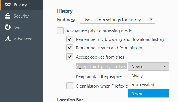 adlock - how to block third party cookies in mozilla - accept third party cookies
