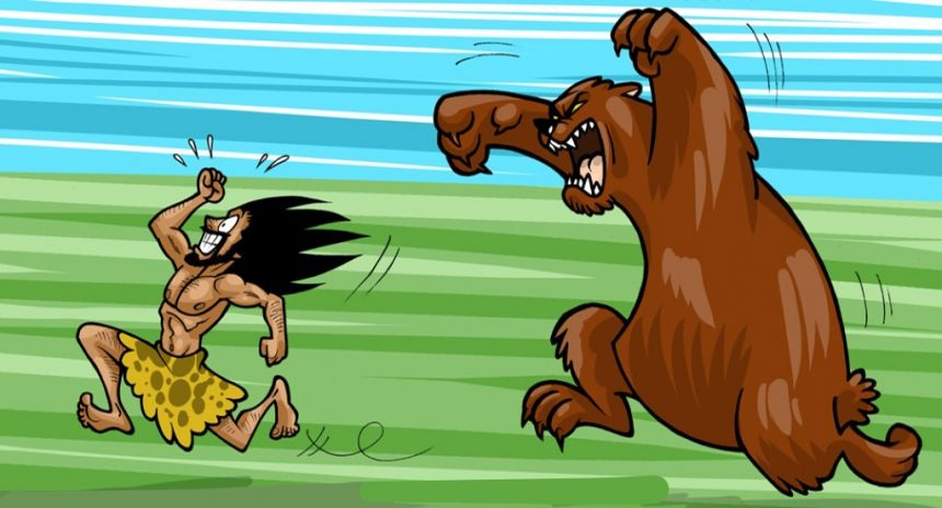 caveman running away from a bear adlock
