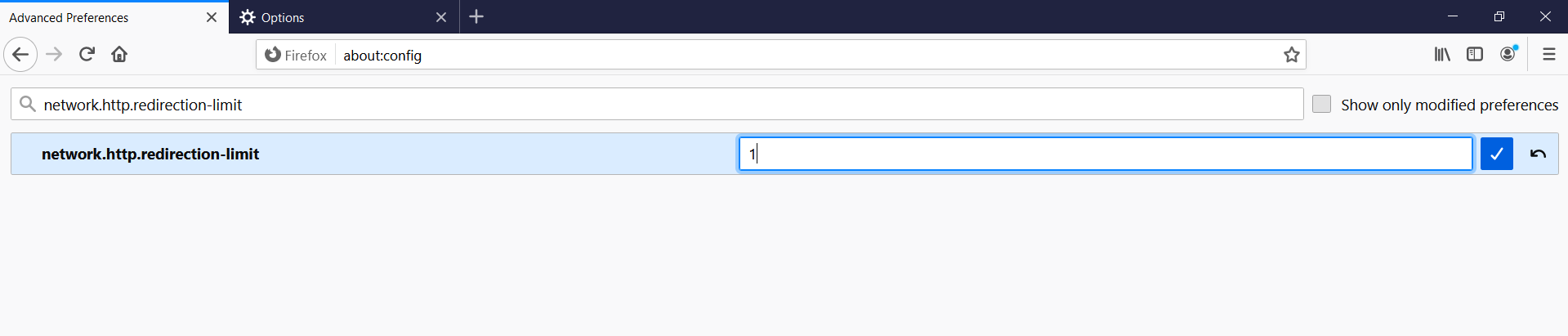 Firefox setting redirection limit to 1